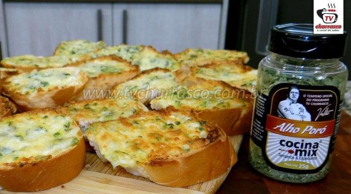 Pão de Alho no Forno com Alho Poró